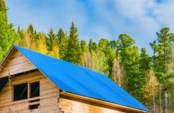 Um fragmento da construção de uma casa de madeira em uma floresta do pinho, Imagens de Stock Royalty Free