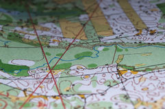 Um fragmento de mapas topográficos para orienteering Imagens de Stock