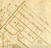 Um fragmento do desenho de engenharia do vintage Foto de Stock
