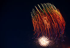 Um fragmento dos fogos-de-artifício do ano novo Foto de Stock