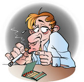 Um fumador secreto Imagens de Stock