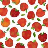 Um fundo com as maçãs vermelhas frescas Fotografia de Stock