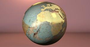 Um fundo com o planeta da terra feito no material oxidado, que mostra o continente de África ilustração do vetor