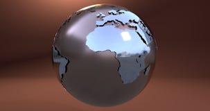 Um fundo com o planeta da terra feito no metal, que mostra o continente de África ilustração do vetor