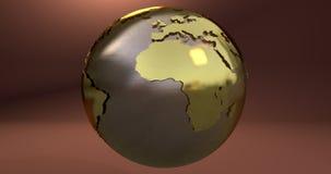 Um fundo com o planeta da terra feito no ouro, que mostra o continente de África ilustração royalty free