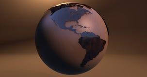 Um fundo com o planeta da terra fez de uma textura de madeira, que mostrasse o continente americano ilustração do vetor