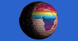 Um fundo com o planeta da terra fez por tijolos completo das cores, que mostra o continente de África ilustração royalty free