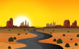 Um fundo da estrada do deserto ilustração royalty free