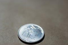 Um fundo da moeda do rublo de russo Fotografia de Stock