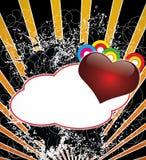 Um fundo escuro com coração e bandeira nas FO Fotos de Stock