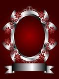 Um fundo floral de prata em um profundo - Backgroun vermelho Imagens de Stock