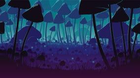 Um fundo sem emenda horizontal de alta qualidade da paisagem com a floresta profunda do cogumelo Imagens de Stock Royalty Free