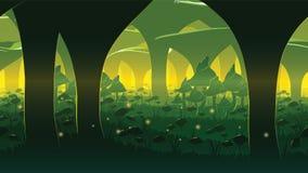 Um fundo sem emenda horizontal de alta qualidade da paisagem com a floresta profunda do cogumelo Imagem de Stock Royalty Free