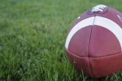 Um futebol na grama horizontal Imagens de Stock Royalty Free