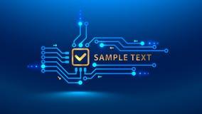 Um futuro do cybersecurity da marca de verificação do ouro Vector o estilo eletrônico do PWB da placa de circuito da cópia da ilu ilustração stock