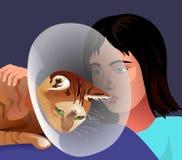 Um gato doente Imagens de Stock Royalty Free