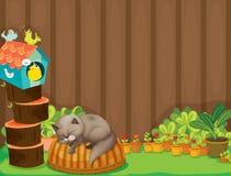 Um gato e os pássaros Imagens de Stock Royalty Free