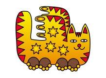 Um gato feericamente com asas Imagem positiva em cores amarelas, alaranjadas, vermelhas Fotografia de Stock Royalty Free