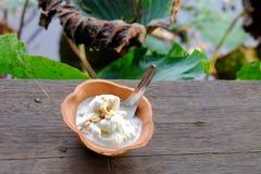 Um gelado leitoso do coco em um copo da argila na prancha de madeira velha fotografia de stock royalty free