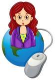 Um globo com uma mulher que veste um blazer violeta Foto de Stock