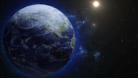 Um globo realístico na noite A terra de giro Tecnologia, negócio, transporte, comunicações e social ilustração stock