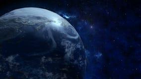 Um globo realístico na noite A terra de giro Tecnologia, negócio, transporte, comunicações e social ilustração royalty free
