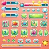 Um grande grupo de barras do progresso, botões, impulsionadores, ícones para o usuário Fotos de Stock Royalty Free