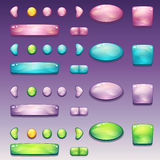 Um grande grupo de botões glamoroso de formas diferentes para a interface de utilizador e o design web Imagens de Stock Royalty Free