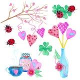 Um grande grupo de elementos da aquarela para o dia ou o dia do casamento de Valentim Flores, seta, envelope, balão, coração, cop ilustração do vetor