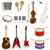Um grande grupo de instrumentos musicais ilustração stock