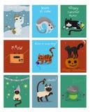 Um grande grupo de nove cartões com gatinhos Cartão para o Natal, o Dia das Bruxas, o aniversário e o outro Clipart do vetor ilustração royalty free