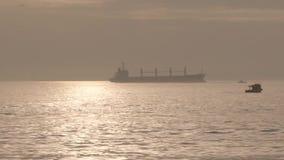 Um grande navio de carga está no mar iluminado pelo sol, navios pequenos flutua após ele video estoque