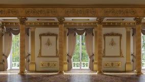 Um grande salão com colunas em um estilo clássico filme