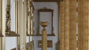 Um grande salão com colunas em um estilo clássico vídeos de arquivo