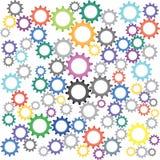 Um grupo colorido de engrenagens da máquina no trabalho industrial ilustração stock