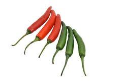 Um grupo da mistura de pimentão vermelho e de pimentão verde Imagem de Stock Royalty Free