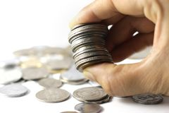 Um grupo da moeda indiana inventa à disposição imagem de stock royalty free
