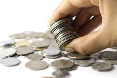 Um grupo da moeda indiana inventa à disposição imagens de stock