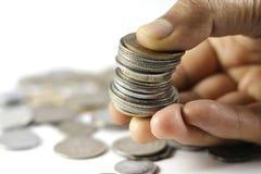 Um grupo da moeda indiana inventa à disposição imagem de stock
