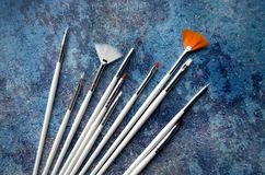 Um grupo das escovas brancas Fotos de Stock Royalty Free