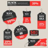 Um grupo das etiquetas, moldes para Black Friday Venda grande, máximo dis Fotos de Stock