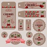 Um grupo das etiquetas para doces com cereja Fotos de Stock Royalty Free