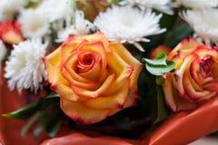Um grupo das rosas e do crisântemo branco fotos de stock royalty free