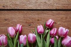 Um grupo das tulipas violetas no dia de Valentim de madeira da tabela Imagem de Stock