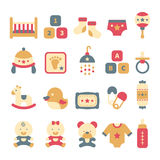 Um grupo de ícones bonitos do bebê no estilo liso Imagem de Stock