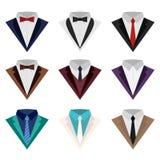 Um grupo de ícones coloridos do terno e do smoking Imagem de Stock