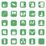 Um grupo de 25 ícones da cor branca no Natal e no ano novo Fotos de Stock