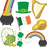 Um grupo de ícones do dia do ` s de St Patrick Fotografia de Stock
