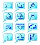 Um grupo de ícones do Internet no projeto azul Imagens de Stock
