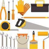 Um grupo de ícones do trabalhador manual ou da ferramenta de DIY Imagem de Stock